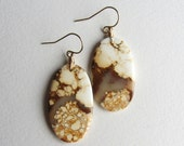 White and Gold Howlite Earrings - Oval Shaped Gemstone - Wire Wrapped Gold Fill Jewelry