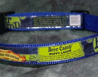 Adjustable Dog Collar from recycled Sierra Nevada Beer Camp Hoppy Lager Beer Labels