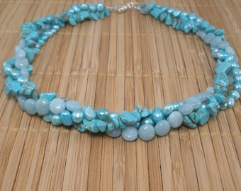 Turquoise Multistrand Aqua Pearl 3 Strand Necklace Turquoise Stone Necklace Light Blue Aqua Gemstone and Pearl Multistrand Sterling Silver