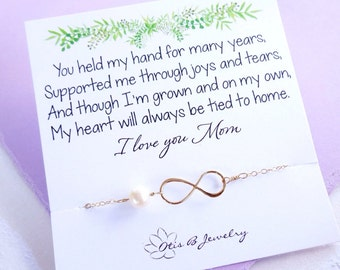 Mother of the bride gift, mother of the groom gift, mother in law gift, infinity necklace with message card, Meaningful Gifts for mom,