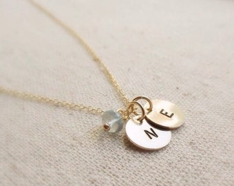 Two Initial Necklace, Gold Personalized necklace, mothers necklace, Best Friends, Husband Wife, children, Two letter necklace