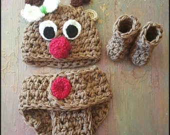 Rudolph The Red Nose  Set Hat with bow and Diaper cover and boots