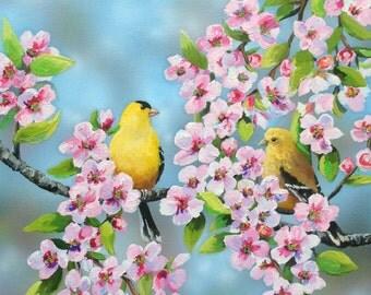 Original Painting Goldfinch in Cherry Tree Bird Wildlife