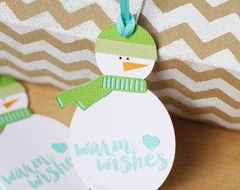 Snowman Gift Tag, Warm Wishes Tag, Christmas Gift Giving, Aqua and Green