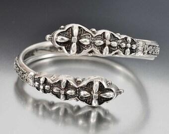 Victorian Bracelet, Cross Over Sterling Silver Bangle Bracelet, Vintage 1800s Antique Jewelry, Silver Cuff Bracelet
