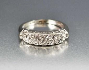 Art Deco Engagement Ring, 14K White Gold Diamond Engagement Wedding Band Ring, Diamond Ring, Engagement Wedding Ring, Art Deco Ring