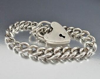 Puffy Heart Charm Bracelet, Heart Padlock Victorian Bracelet, Curb Chain Charm Bracelet, Sterling Silver Bracelet, Antique Jewelry