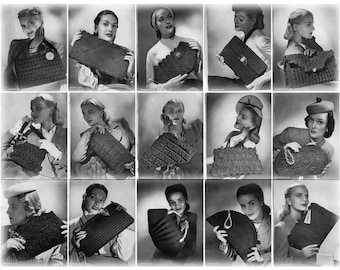 Digital Patterns -Jack Frost Crochet handbags. 1940's.
