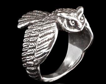 Owl Ring Silver - Owl Jewelry - Bird Ring - Bird Jewelry Sterling Silver Ring - Owl Art - Mens Ring - Gift for Him Gift For Her - Bird Lover