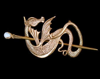 Dragon Hair Barrette Renaissance Hair Accessories Bronze Wyvern Dragon Hair Stick Dragon Jewelry Game Of Thrones Inspired Hair Jewelry