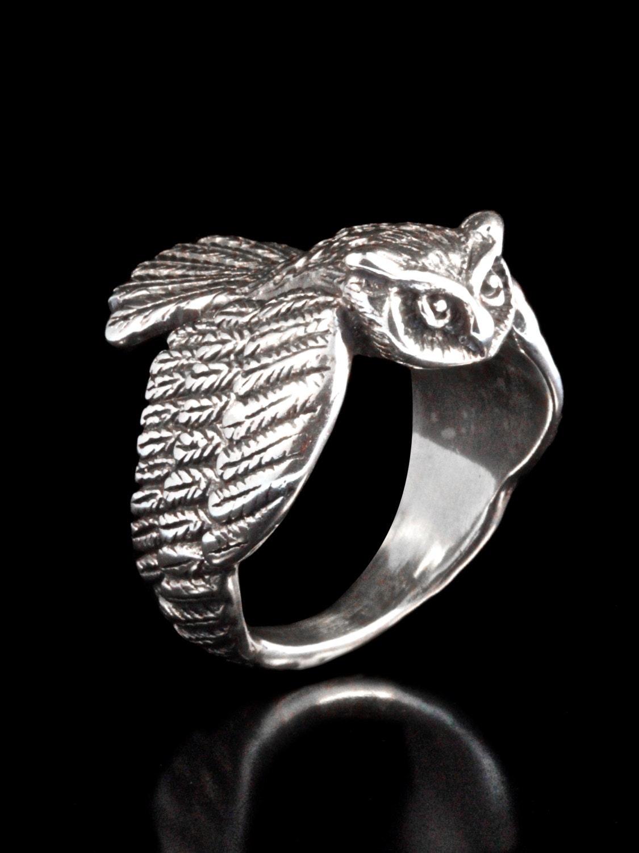 owl ring silver owl jewelry bird ring bird jewelry