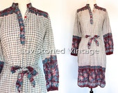 SOLD - 70s Vintage Indian Ethnic Boho Hippie Cotton India Gypsy Festival Midi Tunic Dress with Belt | XS - SM | 1123.9.22.15
