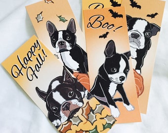 Halloween Boston Terrier Bookmarks - Eco-friendly Set of 5