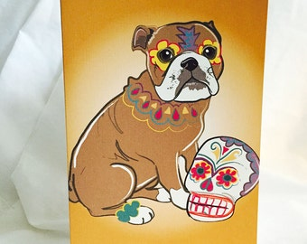 Muertos Bulldog Greeting Card