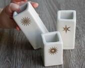 Gold snowflake bud vase trio, free same day priority shipping