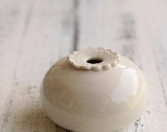 small white pod vase