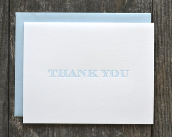 Letterpress thank you cards - set of 12 - light blue striped serif font