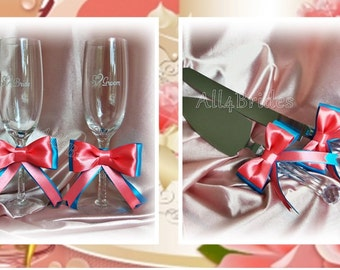 Coral and Turquoise wedding champagne glasses and cake knife set, Coral Reef and Malibu weddings