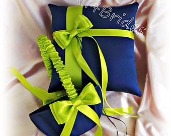 Wedding Pillow and Basket - Navy Blue and Lime Green Ring Bearer Pillow and Flower Girl Basket
