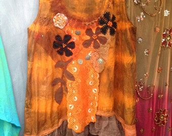 Demerara sunset handpainted boho top hand embroidered top earth colours beading,laces
