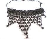 Brown Pressed Glass Bib Chocker Necklace Vintage Jewelry