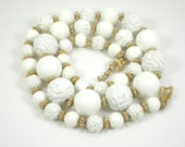 Carved White Gold Beaded Lucite Necklace Monet Vintage Jewelry