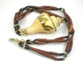 Shell Wood Necklace Boho Hippie Nautical Vacation Vintage Jewelry