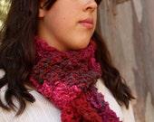 Hand Knit Burgundy Red Dark Green Noro Wadaiko Scarf Wool Nylon Blend Yarn OOAK Gift for Her