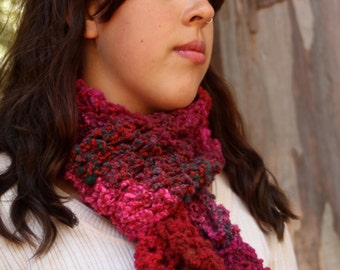 Hand Knit Burgundy Red Dark Green Noro Wadaiko Scarf Wool Nylon Blend Yarn OOAK Gift for Her