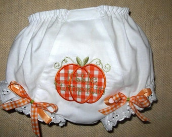 Gingham Little Pumpkin Applique Bloomers