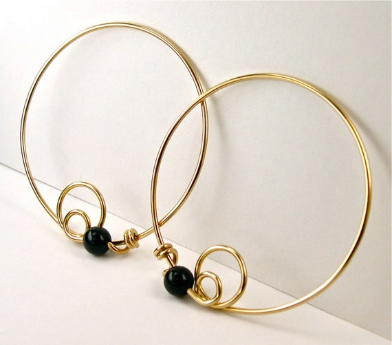 black onyx and 14k gold filled hoop earrings by