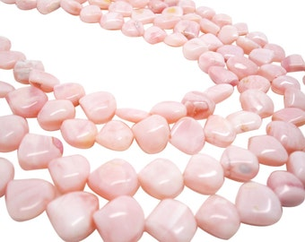 Pink Opal Briolettes, Pink Opal Beads, Pink Peruvian Opal, 13mm, Smooth Heart Briolettes, SKU 4170A