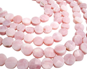 Pink Opal Beads, Pink Peruvian Opal, Peruvian Pink Opal, Faceted Coin, SKU 3985A