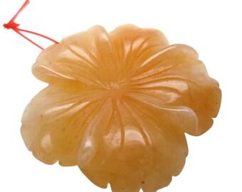 Red Aventurine Bead, Aventurine Pendant, Flower Pendant, Focal, 40mm, SKU 5035A