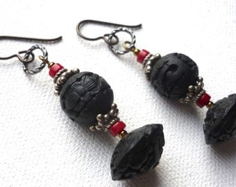 Black cinnabar and coral earrings * Asian earring design