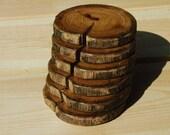 Oak wood drink coasters - 6 pc set