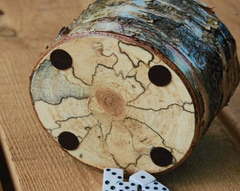Spalted Birch wood dice cup