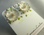 white enamel flower stud earrings