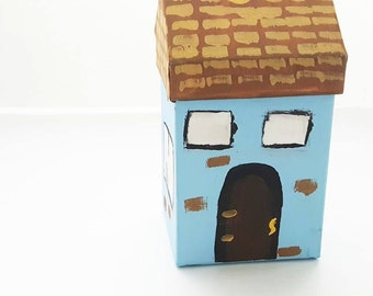 Little Powder Blue House - Jewelry Box, Treasure Box, Candy Box, Knicknack, Handpainted Box, Baby Blue, Paper mache, Gift Box, Blue Decor