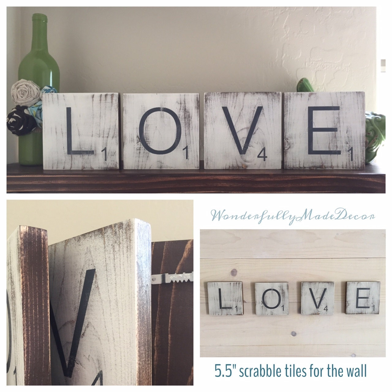 Large scrabble tiles for the wall home by wonderfullymadedecor - Wall decor tiles ...