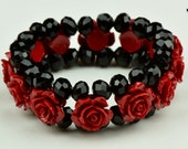 Cinnebar Stretch Rose Bracelets double strand with Crystal beads, sold by each and color