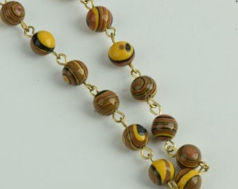 Beaded link chain, Tigers Eye sold by 10ft , 2 sizes 6mm (C564/TE) & 8mm (C565/TE)
