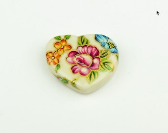 Cloisonné Heart Bead 27mm x 23mm , holde side to side , sold by packages of 2 each OE-179