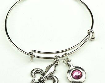 Charm Bracelet with Flur De Lis Charm and Birthstone setting, each