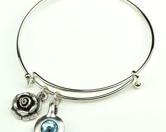 Charm Bracelet  Rose charm and Birthstone setting, each