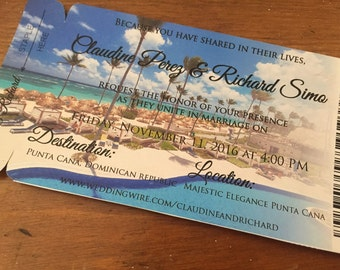 Punta Cana Wedding Invitation. Boarding Pass Save the Date Magnet. Destination invite. Boarding pass invite. Save the date magnet.