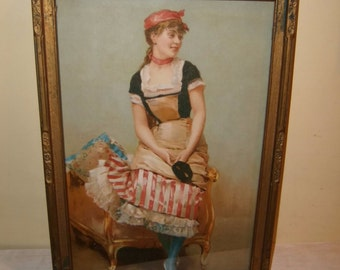 Antique Print Young Girl Peasant Holiday Dress color litho under glass old wooden frame
