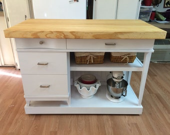 Custom Rolling Kitchen Island Made From Mid Century Desk and Bowling Alley Lane