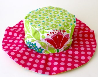 Baby hat for infant girls, summer sun hat with wide brim, flowers and pastels, pink and girly