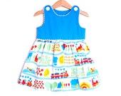 TRAIN RAIL girls handmade retro dress, scandinavian toddler dress, girl party blue dress, baby girl spring dress